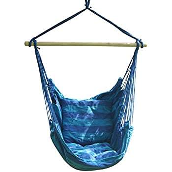 hanging hammock chair from tree diy rope swing porch seat with two cushions lbs blue white