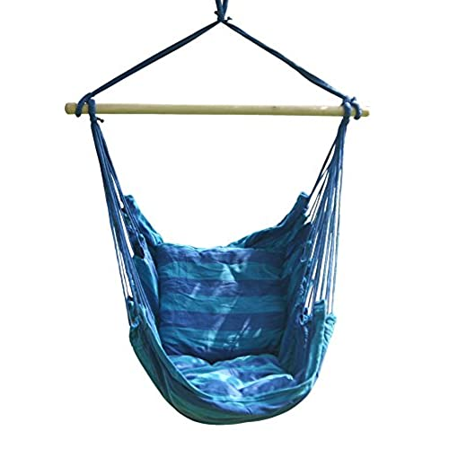 SueSport Hanging Rope Chair   Swing Hanging Hammock Chair   Porch Swing  Seat   With Two Cushions   Max.265 Lbs, Blue