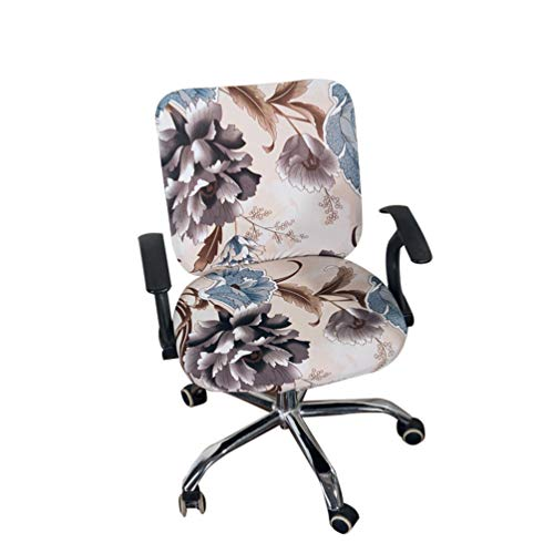 GBTRICON Office Chair Covers Stretch Cotton Fabric Computer Chair Slipcover Flower Printed Removable Rotating Chair Protector Slipcovers