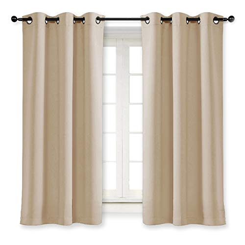 NICETOWN Room Darkening Blind Shade for Kids Bedroom Triple Weave Home Decoration Light Blocking Solid Ring Top Curtain/Drape for Small Window (Biscotti Beige, Single Panel, 42 x 63 inch) (Light Blocking Curtains Beige)