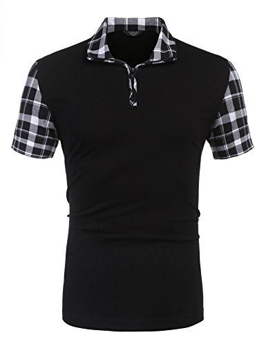 COOFANDY Mens Polo Shirts Casual Short Sleeve Slim Fit Zipper Plaid Polo T Shirts