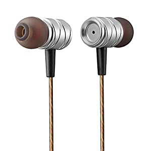 MUZ K20 Earbud Headphones with Microphone and Remote Deep Bass Noise Isolating Earphones for iPhone, iPad, iPod, Samsung Galaxy Phones, MP3 Players (Silver)