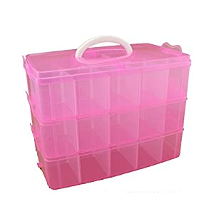 3-Tier Demountable Plastic Jewelry Box Organizer Storage Container With Adjustable Dividers 30(Large)Grids by Rekukos (Pink)