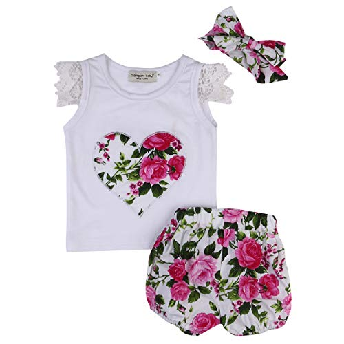 - 3Pcs/Set Newborn Baby Girl White Sleeveless Ruffle Lace Vest Top+Bubble Floral Print Short Pants+Headband Clothes (Red, 2-3 Years)