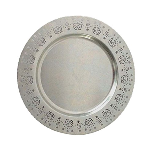 (WANDERBAL HOME Charger Plate Metal Round with Galvanized Finish 13'' for Party Use)