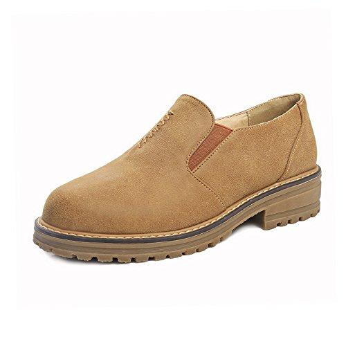 AllhqFashion Damen Rund Zehe Niedriger Absatz PU Leder Rein Ziehen auf Pumps Schuhe Gelb