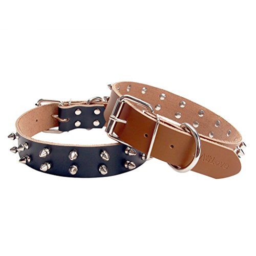 AOLOVE Basic Classic 2 Rows Spiked Rivet Studded Adjustable Genuine Cow Leather Pet Collars for Medium Large Dogs