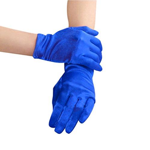 Bridal Waiters Magicians Perform Etiquette Elastic Wrist Short Satin Gloves 8.6