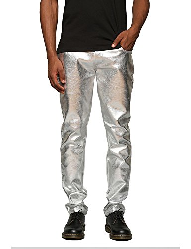 COOFANDY Men's Nightclub Metallic Silver Pants Shinny Slim Disco Hiphop Dance Jeans Pants Costume Party Clubwear,Extravagant Grey,Medium -