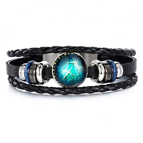DLSHS 12 Constellations Leather Zodiac Charm Bracelet Jewellery Male Women Braid Rope Cortex Punk Bracelet - Charm Plated Zodiac