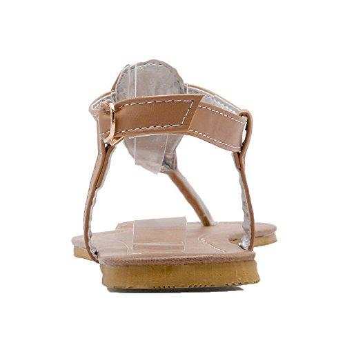 AalarDom Mujer Puntera Dividida Mini Tacón Material Suave Hebilla Sandalias de vestir Albaricoque