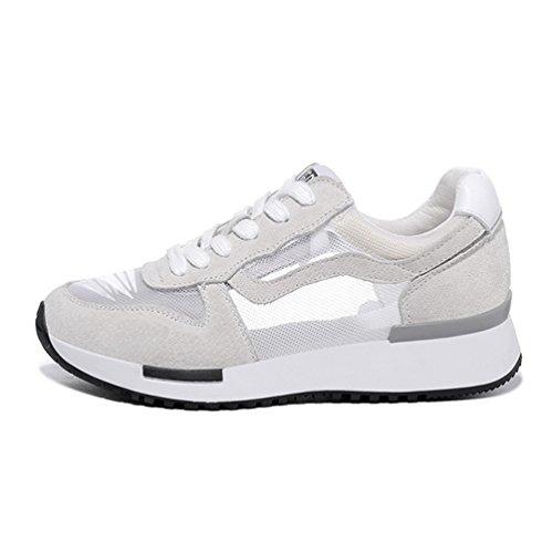 de Beige Femmes Lacet Baskets Antidérapantes Chaussures Sneakers Casual Mode Filet Cuir Multisport Outdoor Running B5qRZ5r