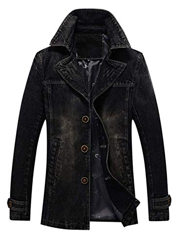 Cappotto Cappotto Lunga Betrothales Capispalla Vintage Fit Slim Coat Trench Vintage Giacca Giacca Giacche Parka Collar Uomo Jeans Inverno Schwarz Giubbotto Autunno Risvolto Decal Jeans Denim Manica RCxwrqR7