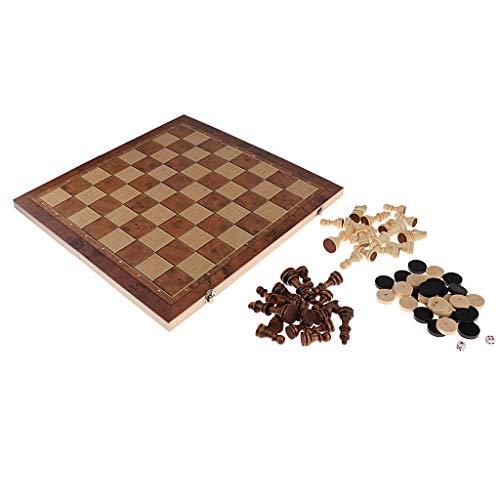 sharprepublic 3 En 1 De Damas De Ajedrez De Backgammon – 44 x 44 cm