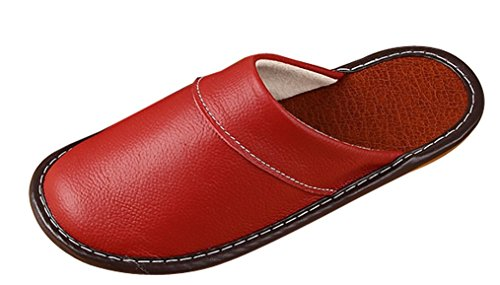 Cattior Womens Leather Slippers House Slippers Wine Red SRiR6QaM0
