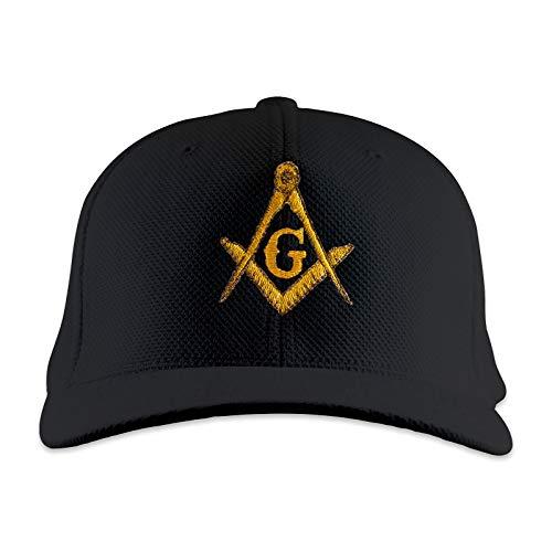 Masonic Baseball Hat - Gold Square & Compass Embroidered Masonic Flexfit Adult Cool & Dry Piqué Mesh Hat - (Black)
