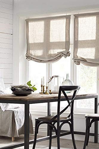 LOGANOVA Hypoallergenic Faux Linen Roman Shades For Windows. Quality Sheer Roman Shades. Custom Made And Hand Crafted.