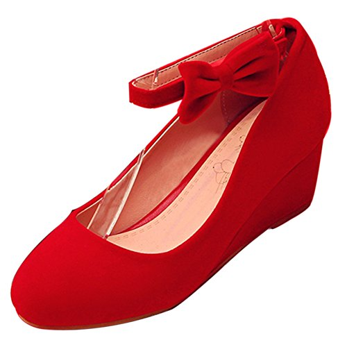 Women's Shoes TAOFFEN Heel Wedge Wedding Red Court vqw07