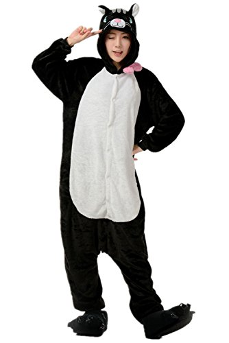 Halloween Costumes For Teenage Girls Cat (Black Cat Halloween Costume Romper Pajamas One-Piece Cosplay Sleepwear XL)