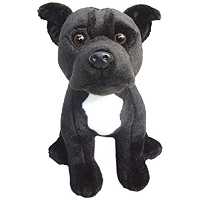 "Faithful Friends Staffordshire Bull Terrier (Black) Soft Toy 12""- Plush Collectible Dog- Branded Stuffed Animal: Toys & Games"