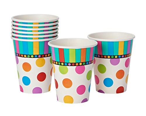 American Greetings 8 Count Party Supplies Dots and Stripes 9 oz Paper Cups, Teal -