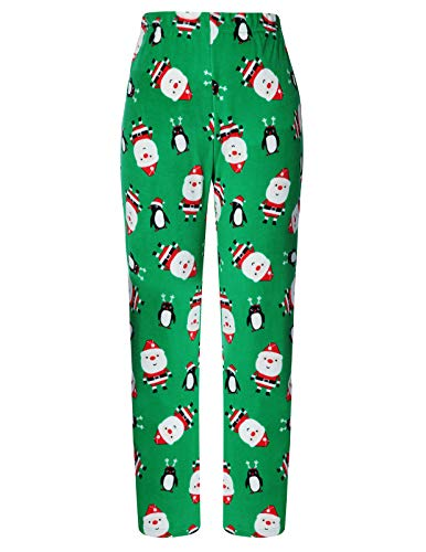 AMONIDA Soft Stretchy Cotton Lounge Pants Plaid Bottoms for Women (Green Santa, X-Large)