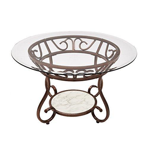 Adeco Glass & Bronze Metal Coffee/ Tea/ Side/ End Table, Cla