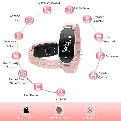 Fitness Tracker Women Sport Tracker Smart Watch Bracelet Heart Rate Blood Pressure Monitor Women Run Swim IP67 Waterproof Wristband Watch Health Sleep Activity Tracker Pedometer Smart Phone