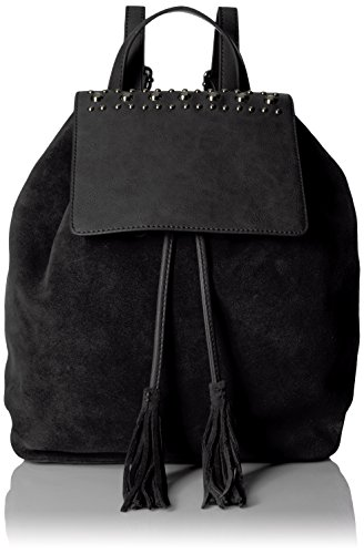 (The Fix Avery Studded Top Flap Suede Backpack, Black)