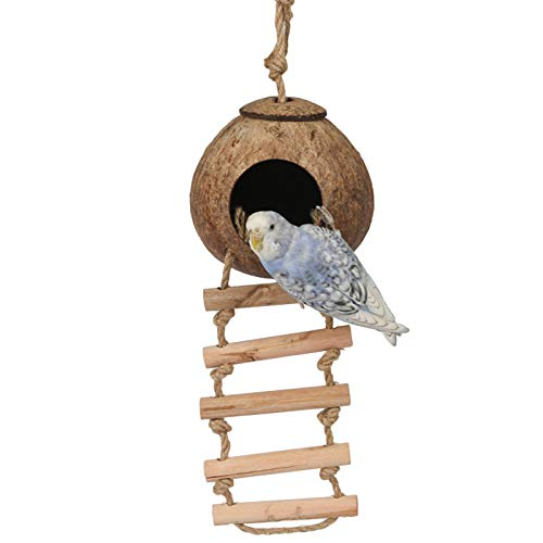 Coconut Bird - Mydio 100% Natural Coconut Husk Bird House with Ladder Natural Textures Encourage Foot and Beak Exercise - Sustainable Materials - Durable Habitat