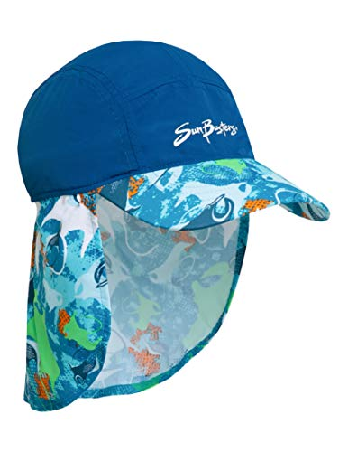 SunBusters Boys Flap Hat (UPF 50+), Sapphire Manta Ray, Large]()