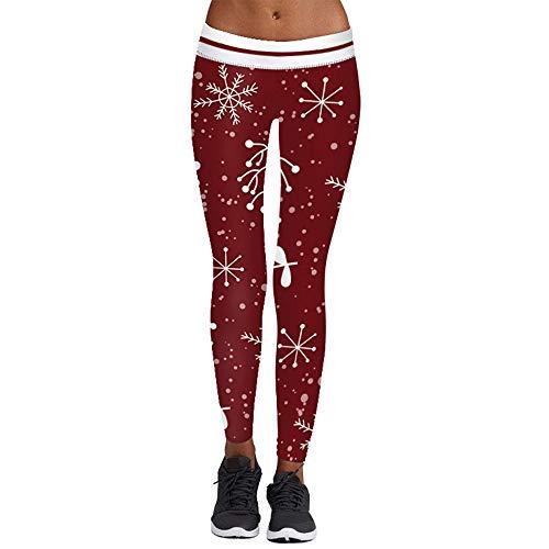 Franterd Women Chritsmas Yoga Pants Winter Sports Gym Workout Running Leggings Footless