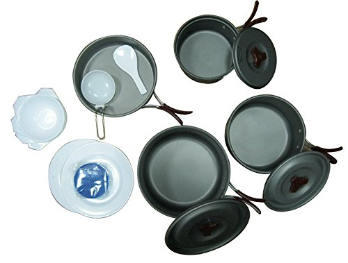 Camping and Picnic Aluminum Pot and Pan Dining Set by Treewalker