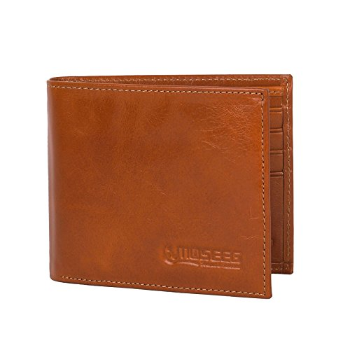 Amazon Lightning Deal 65% claimed: Mens Wallet by Moseeg® Super Premium Full Grain Leather With RFID Protection