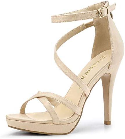 Allegra K Women's Strappy Platform Stiletto Heels Beige