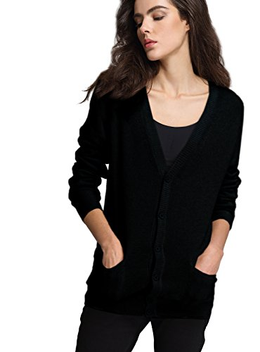 Escalier Womens V-Neck Thin Button Down Long Sleeve Basic Soft Knit Cardigan Sweater