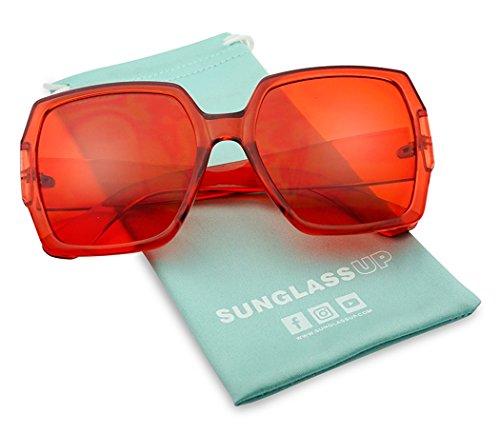Extreme Oversize Square Colorful Transparent Designer Inspired Super Flat Acrylic Sun Glasses (Red Frame   (Inspired Oversized Sunglasses)