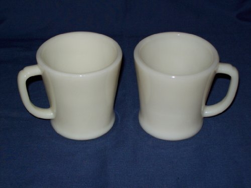 Fire King Oven Ware Cream Glass Coffee Mugs - Set of 2 -