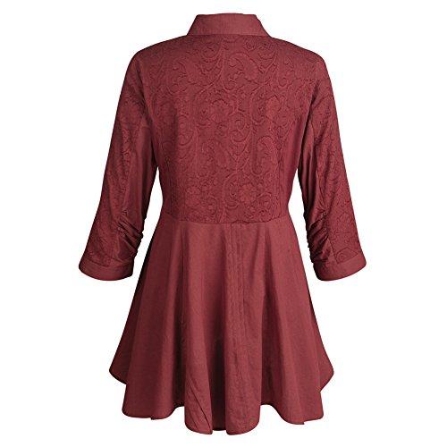 Women's Tunic Top - Soutache Embroidered Wine Colored Button Down Blouse - 1X