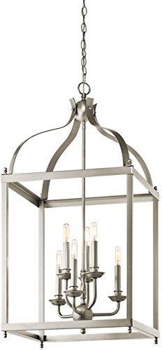 Brushed Nickel Foyer Cage - Kichler 42568NI Larkin Foyer Chandelier 6-Light, Brushed Nickel
