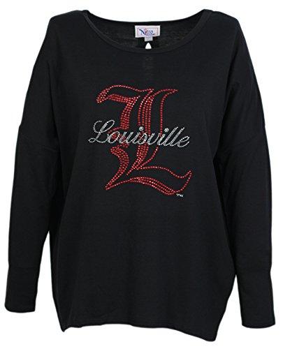 Nitro USA NCAA Louisville Cardinals Women's Slit Back Hi Lo Top with Rhinestone L & Louisville Script, Black, 1X