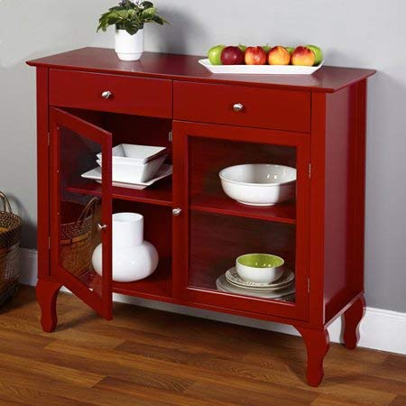 (Casual Two-Drawer China Cabinet Buffet with One Adjustable Shelf on Each Side, Victorian Style Legs, Durable Wood Frame, Chrome Finish Metal Knobs, Two Windowed Pane Doors, Red + Expert Home Guide)