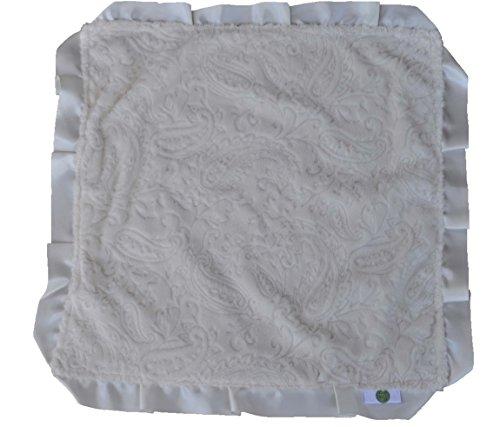 Ivory Satin Trim (Cozy Wozy Paisley Minky Baby Lovie Sized Blanket with Satin Trim Lovie, Ivory, 18