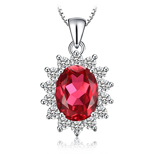 Jewelrypalace 3.2ct Gemstones Birthstone Created Red Ruby 925 Sterling Silver Halo Pendant Necklace For Women Princess Diana William Kate Middleton Necklace Chain Box 18 Inches