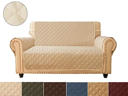 (Ameritex Sofa Cover, Reversible Quilted Furniture Protector, Ideal Loveseat Slipcovers for Pets & Children, Water Resistant, | Double line Checkered Grid Blue (Pattern1:Khaki/Beige, Loveseat) )