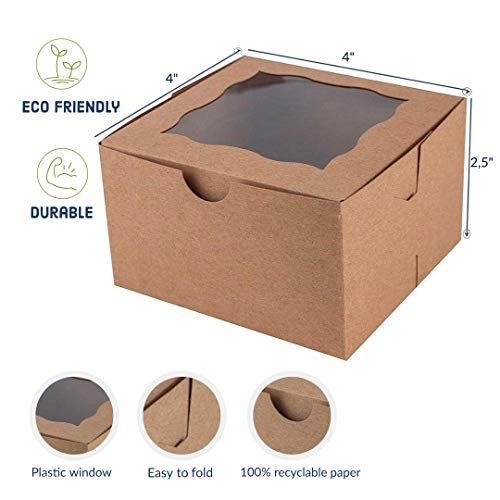 Bakerlyx Technilyx Bakery boxes with window(25 PACK) 4x4x2.5 inch.Eco-Friendly Paper board-Gift Packaging Boxes,Thick,Sturdy for Pastries, Cookies, Small cakes, Cupcakes, Donuts.