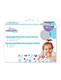 Baby Works Disposable Bibs with Crumb Catcher 24 Count Value Pack, White
