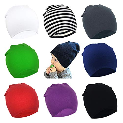 (DRESHOW BQUBO 8 Pack Unisex Baby Beanie Hat Infant Baby Soft Cute Knit Cap Nursery Beanie)