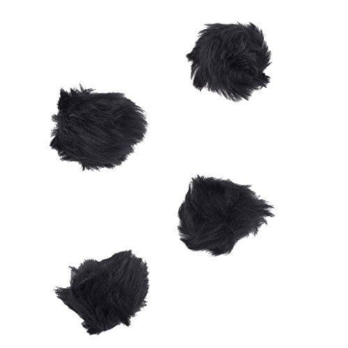 Lux Accessories Black Faux Fur Pom Pom Hair Clip Set (4PCS)