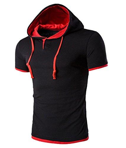 rouge Manches Capuche Wslcn Polo Moulant À shirt Coton Homme Noir T Courtes nXqXPa